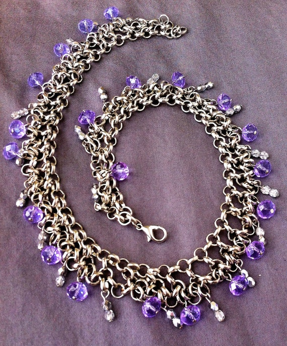 White gold choker with light purple crystals