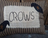 Primitive Crow Pillow, Primitive Home Décor, Black Crows, Country Accent Pillow, Small Pillow, Black Ticking Pillow
