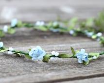 Aqua Flower Crown, Boho Flower Crown, Leaf Crown, Rustic Flower Crown, Bridal Floral Crown, Blue, Hair Wreath Flower, Headband Flower Crown