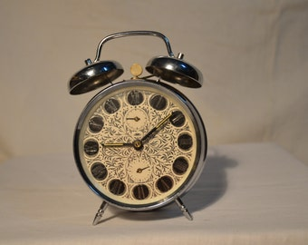 Vintage 1970's Mechanical Alarm Clock.Brand:PRIM - CZECHOSLOVAKIA. NEW
