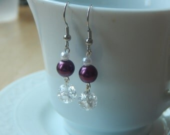Muted Purple and Clear Dangle Earrings