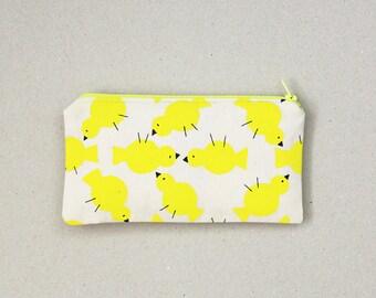 Zipped pouch / MERLIN the little chick / Original illustration / Handmade