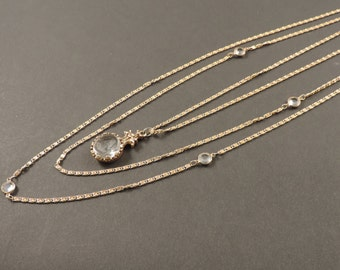 18 ct gold plated metal necklace with glass cameo signed Goldette