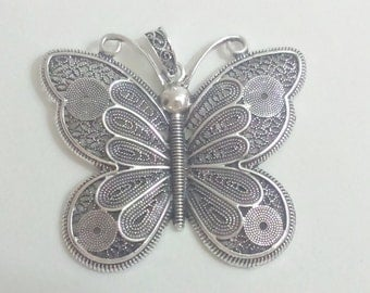 Filigree pendant silver 73 mm charm butterfly findings supplies charm necklace, filigree pendant, big necklace pendant, butterly pendant