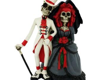 Wedding Gift Forever By Your Side Bride Groom Skeleton 14cm   Wedding Cake Topper   Nemesis Now
