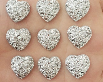 SET of 20 14mm Silver Resin Heart flatback Scrapbooking/Crystal Bling Studded Gem Rhinestone Heart Cabochons