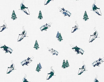 Tinsel Town  Dear Stella  Skiers  Cotton Quilt Fabric Trees    By the  Yard
