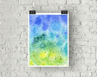 ORIGINAL Hand Painted Abstract Watercolor Composition in Blue and Green