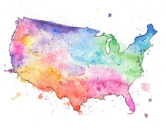 United States Watercolor Map - Giclée Print of Hand Painted Original Art