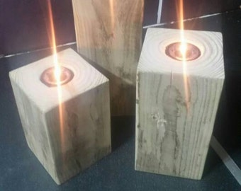 Beautiful  chunky reclaimed wood tea light  candle holders