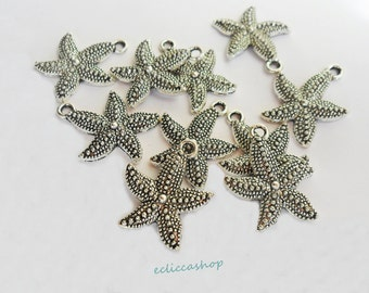 Charm pendant starfish silver color 10 PZ