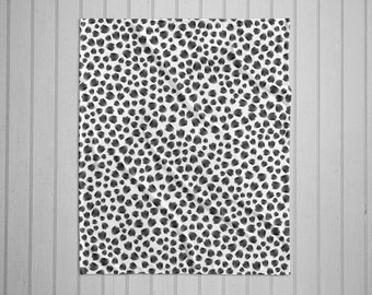 Black and white animal spot modern plush throw blanket with white back
