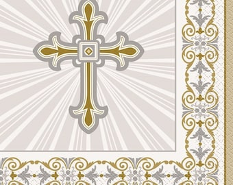 Gold and Silver Religious Cross Luncheon Napkins/ 16 CT Religious Luncheon Napkins/First Communion or Baptism Party Supplies/Religious Party