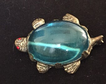 Vintage Art Deco Jelly Belly Turtle Brooch
