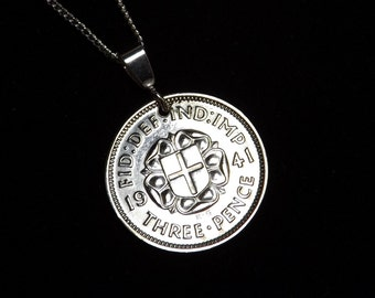 """Vintage Silver Threepence 1941 on new Sterling Silver 925 18""""Necklace 75th Birthday Gift"""