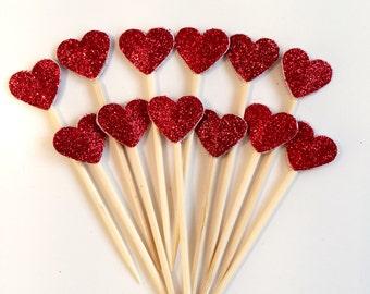 12 mini Red Glitter Heart Cake Topper, Cupcake Birthday Cake, Valentine, Wedding decoration