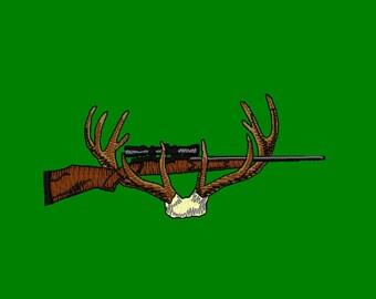Deer Antler Gun Rack Embroidery Design 4x4 hoop