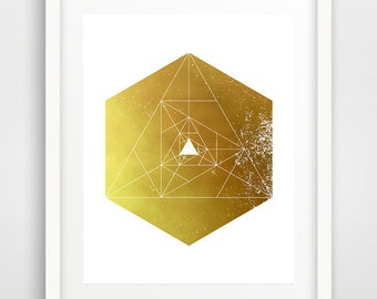 Modern wall art, geometric shapes, hexagon art, download, cool posters, hexagon print, sacred geometry, wall pictures, office wall decor