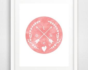 Pink circle print, Pink Love print, love wall art, love wall decor, arrow print, arrow love print, pink wall print, Scandinavian art
