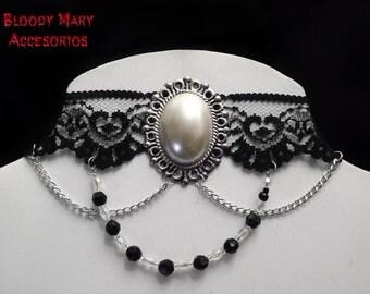 Black lace victorian choker gothic lolita EGA Cabuchon