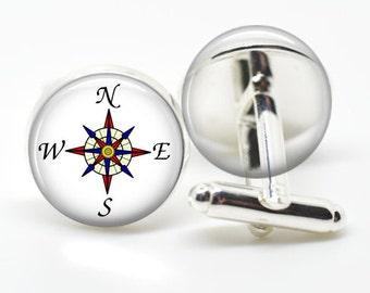 Compass Cufflinks, Graduation Compass Cuff Links - Graduation Gift for men, boys,guys, males