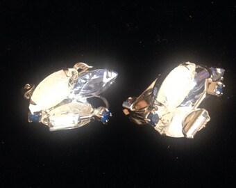 Glass Bead & Rhinestone Earclips