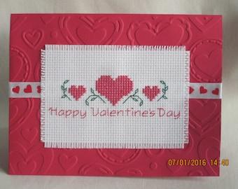 Cross stitched Valentine's Day Card