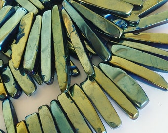 Blue Green Electroplated slab beads - 16 inch strand, mirror plated quartz, fan beads