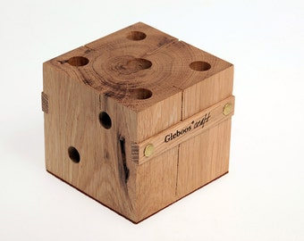 Wooden Cube Pencil and Pen Holder, Handmade
