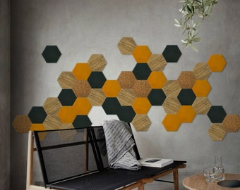 Wall design - shade 4 (Fraké / Blue oil / Yellow mustard) - 50 pieces Kit