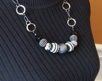 Chunky Black and White Statement Necklace