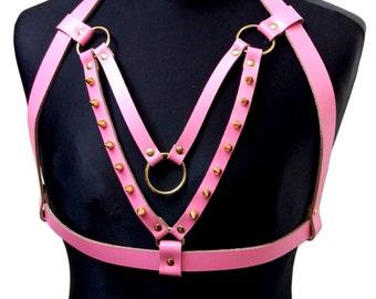 RESPICE / / Pink Genuine Leather Gold Spike Frame Halterneck Bra Harness (babydoll, fetish, princess)