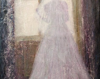 GHOST BRIDE, 11x14,  Affordable, Textured, Canvas, Mixed Media, Fine Art