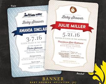 BANNER . baby shower invitation . train or baseball