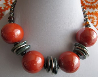 Adrienne necklace with apple green ceramic beads