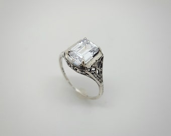Vintage Retro Sterling Silver White Stone Engagement Ring