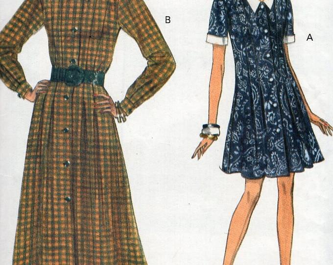 Free Us Ship Sewing Pattern Vogue 8418  Vintage Retro 1990s 90's 1992 A-Line Shirtdress Dress Size 6 8 10 Bust 30.5 31.5 32.5 Uncut New