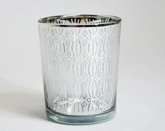 Renaissance Votive Tea Light Glass Candle Holder - Silver (2.5 Inches) (6 PACK) - TL3-SV6