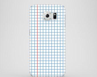 Squared Notebook phone case / school phone case /Samsung Galaxy S7, Samsung Galaxy S6, Samsung Galaxy S6 Edge, Galaxy S5 / iPhone 7 Plus
