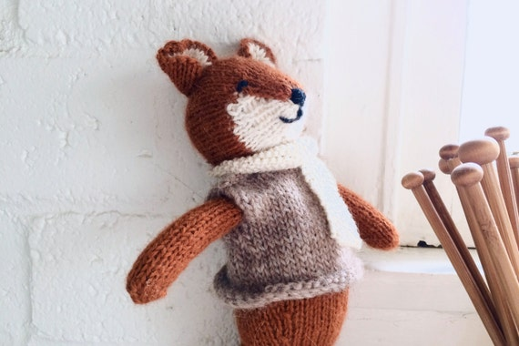 Heirloom Knitted Fox Plush | Stuffed Animal, Soft Toy, Doll | Organic, Natural, Wool, Cotton | OOAK