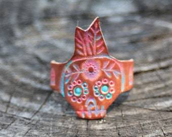 Turquoise Sugar Skull Ring, Day off the Dead Jewelry, Skull Ring, Western, Gypsy, Boho Handmade Leather Ring