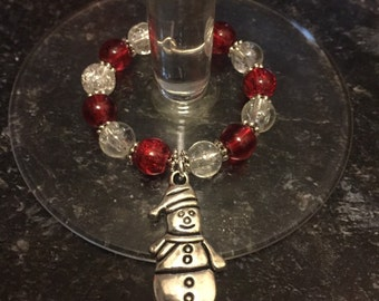Handmade snowman wine glass charm