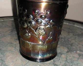 Antique Northwood Carnival Glass Amethyst ''RASPBERRY'' Tumbler - Collectible Art Glass - Vintage Carnival Glass (699)