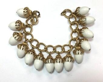 60s Napier White Acorn Bracelet | White Dangle Bracelet | Napier