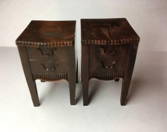 Renwal Night Tables-vintage plastic dollhouse furniture 1:16