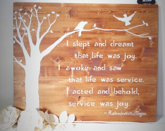 Wooden Wall Art - Family Tree - Birds in Flight - Customizable - Rustic - Quotes - I Slept and Dreamt - Rabindranath Tagore - Nature