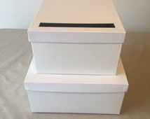 DIY White Deluxe Wedding Card Boxes double stacked 12 x 12 x 12