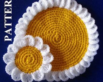 Camomile doily coasters crochet pattern flower crochet pattern coaster flower doily crochet daisy flower patterns Olga Andrew Designs 053