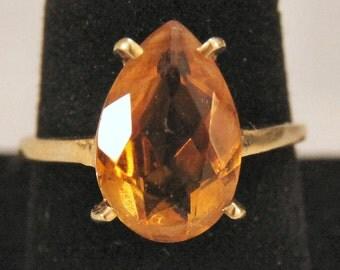 Estate 14K Yellow Gold 5.5 Carat Citrine Ring 3.9 Grams Size 8.75 Fast Shipping