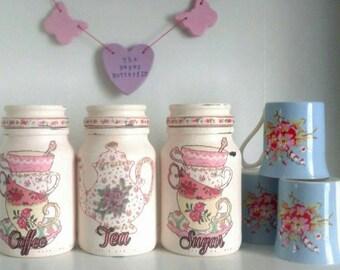 Tea, coffee, sugar kitchen jars, kitchen storage, kitchen decor, new home gift, kitchen goods, tea gift